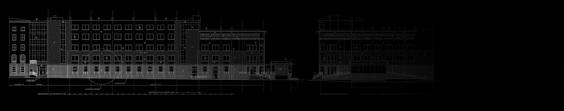 projekt budynku w kolarze czarno białym